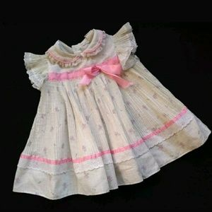 Vintage Baby Girl's Dress Floral Collar Pleats